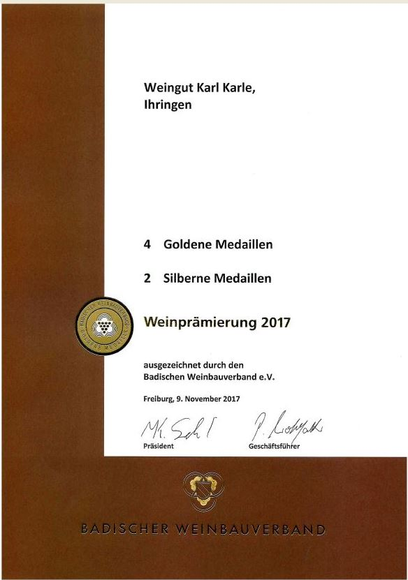 Wir freuen uns über eine positive Beurteilung bei der Landesweinprämierung 2017